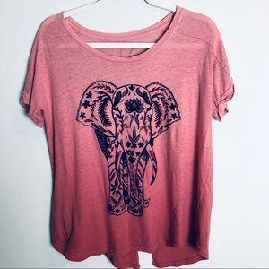 Lucky Brand Pink Elephant Blue Velvet Tee